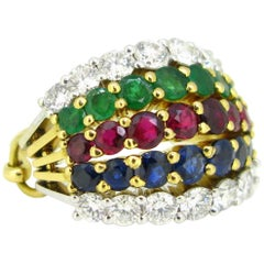 Mellerio Harem Multi Gem Sapphire Ruby Emerald Diamonds Yellow White Gold Ring