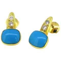 Natural Turquoise and Diamonds Yellow Gold Studs Earrings