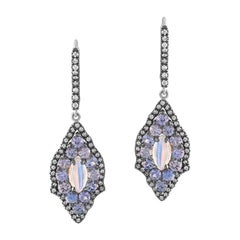 Rainbow Moonstone and Denim Blue Sapphire Earrings in 18 Karat Gold Diamonds