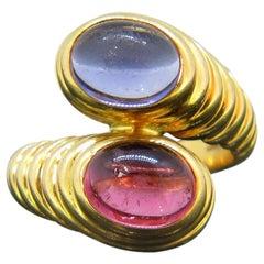 Bulgari Tourmaline Iolite Bypass Crossover Yellow Gold Ring