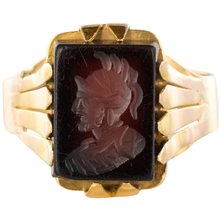 20th Century 18 Karat Rose Gold Sardoine Unisex Signet Ring For Sale