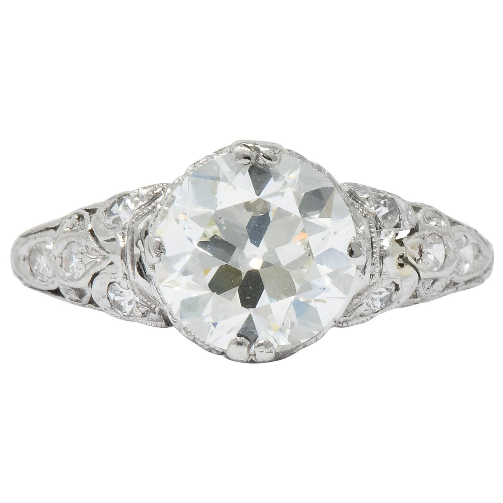 Edwardian 2.13 Carat Old European Diamond Platinum Engagement Ring GIA