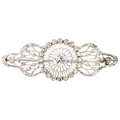 Edwardian White Gold Diamond Filigree Brooch, circa 1920