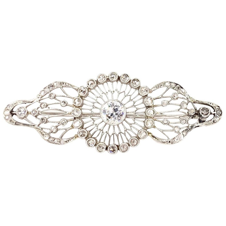 a13430216 Edwardian White Gold Diamond Filigree Brooch, circa 1920 For Sale at ...