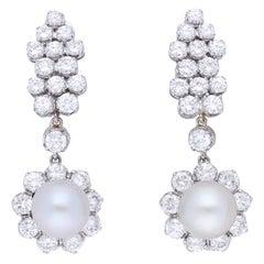 Certified Saltwater Natural Pearls 18 Karat White Gold Diamonds Drops Earrings