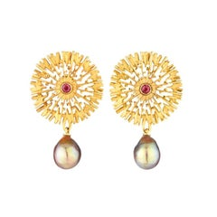 Vermeil Earrings with Pink Garnet Centres and Freshwater Pearl Drops