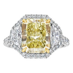 GIA Certified Radiant Cut Yellow Diamond Halo Three-Stone Engagement Ring