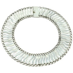 Mexican Sterling Silver Linked Wave Necklace by Plateria Farfan, circa 1950