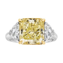 GIA Certified Radiant Cut Yellow Diamond Three-Stone Ring