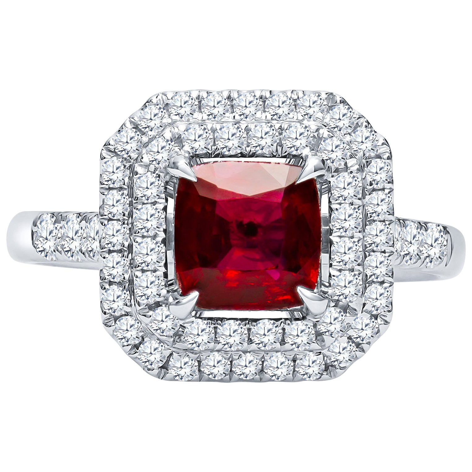 1.40 Carat Cushion Cut Natural Ruby 'IGI' Ring with 0.63 Carat in Diamonds