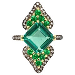 Blue Green Tourmaline and Tsavorite Ring in 18 Karat Gold with Diamond Accent