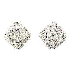Morris & David 14 Karat White Gold 0.50 Carat Diamond Pave Square Stud Earrings
