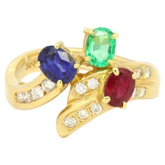 14 Karat Yellow Gold 1.24 Carat Sapphire, Emerald, Ruby and Diamond Ring