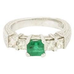 Platinum 1.70 Carat Emerald and Solitaire Diamond Ring