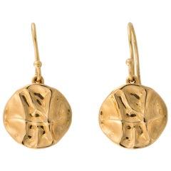 18 Karat Gold Shield Drop Earrings