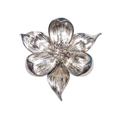 Tiffany & Co. Sterling Orchid Flower Brooch