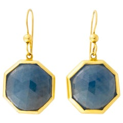 Sapphire Octagon Drop Earrings 18 Karat Gold