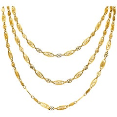 French Victorian 18 Karat Gold Fancy Long Chain Necklace