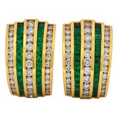 Vintage 4.00 Carat Diamond Emerald 18 Karat Gold Earrings