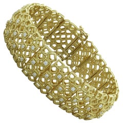 Wide Diamond Gold Shapes Bracelet