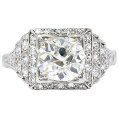 Art Deco 1.95 Carat Diamond Platinum Engagement Ring