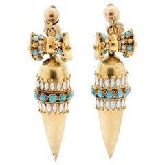 Antique 15 Karat Gold Victorian Turquoise Enamel Pendant Dart Earrings