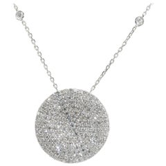 14 Karat Circle Diamond Cluster Necklace White Gold