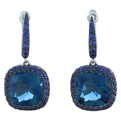 Blue Topaz Blue Sapphire Drop Earrings