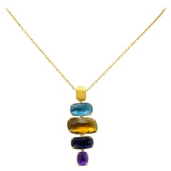 Marco Bicego Multi-Gem 18 Karat Gold Topaz Citrine Amethyst Iolite Drop Necklace