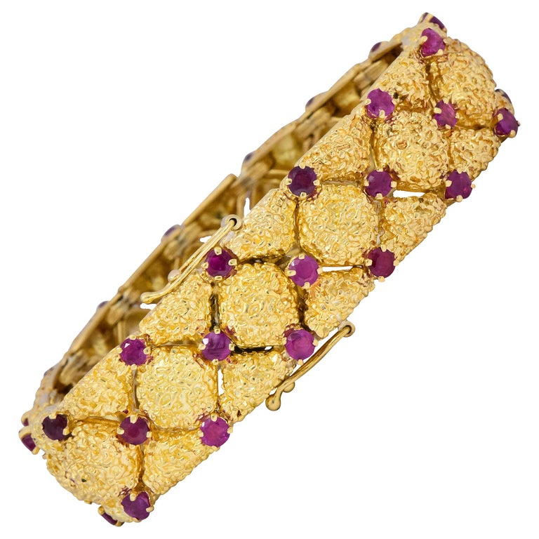Tiffany & Co. ruby and gold bracelet, 1950–59, offered by Wilson's Estate Jewelry