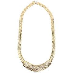 18 Karat Modern Fancy Link Diamond Bar Necklace 7.55 Carat Total Weight