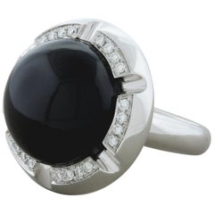 Black Onyx Diamond Gold Cocktail Ring