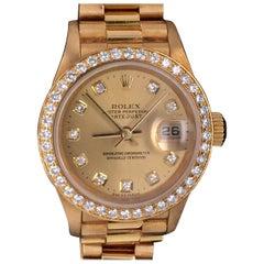 Rolex Presidential Datejust 26 Yellow Gold Diamond Ladies Watch