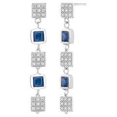 Sapphire and Diamond Two Inch Earrings Weighing 2.25 Carat