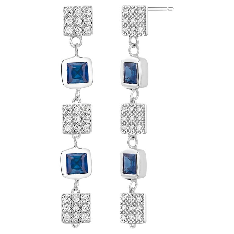 Square Shape Sapphire and Diamond Drop Earrings  For Sale