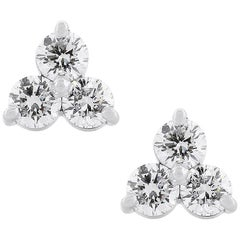 Round Diamond Three-Stone Cluster Earrings