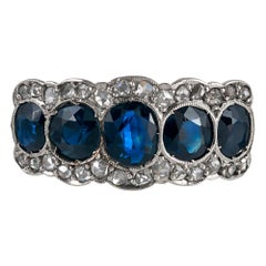 Antique Five-Stone Sapphire and Diamond Ring