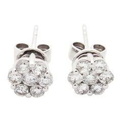 14 Karat White Gold 0.62 Carat Flower Cluster Diamond Stud Earrings
