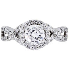 Gabriel & Co. Round Brilliant Diamond Halo Engagement Ring
