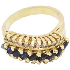 14 Karat Yellow Gold 1.18 Carat Marquise Sapphires and Diamonds Cluster Ring