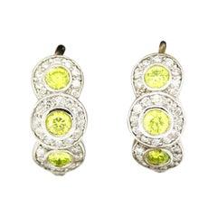 Morris & David 14 Karat White Gold 1.60 Carat Yellow Diamond Huggie Earrings