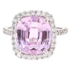 8.92 Carat Kunzite Diamond White Gold Engagement Ring