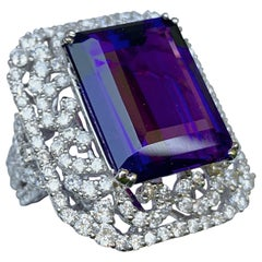 Stunning Large Emerald Cut Siberian Amethyst Diamond Ring in 18 Karat White Gold