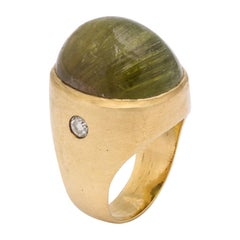 1960s Unique Cat's Eye Tourmaline with Diamonds Unisex Gold Ring