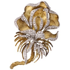 1960s Florentine Large Orchid Flower Diamond and Gold Brooch