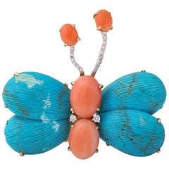 1960s Figural Butterfly Turquoise and Coral and Diamonds Gold Double Clip Brooch