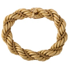 Tiffany & Co. 1960s Braided Rope Design Gold Twist Bracelet