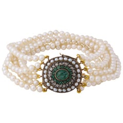 Edwardian Six Strand MM Cultured Pearls and Emerald and Rose Diamond Gold Clasp