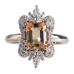 8x6MM Citrine Diamond Yellow Gold Engagement Ring