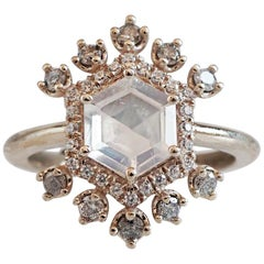 Hexagon Moonstone & Grey Diamond Yellow Gold Ring